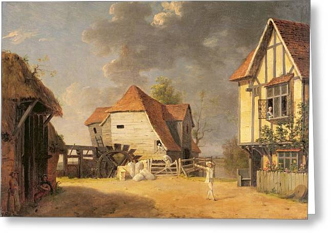 Barn Yard Greeting Cards -  A Scene from The Maid of the Mill Greeting Card by John Inigo Richards