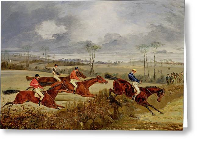 Jockeys Greeting Cards -  A Steeplechase - Near the Finish Greeting Card by Henry Thomas Alken