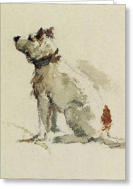 Loyal Greeting Cards -  A Terrier - sitting facing left Greeting Card by Peter de Wint