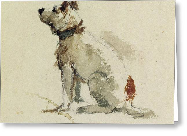 A Terrier - sitting facing left Greeting Card by Peter de Wint