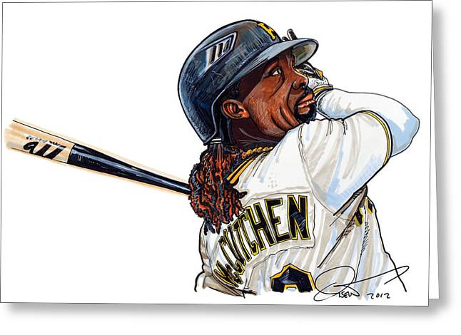 Pittsburgh Drawings Greeting Cards -  Andrew Mccutchen Greeting Card by Dave Olsen