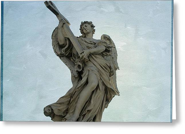 Entire Greeting Cards -  Angel with Cross. Ponte SantAngelo. Rome Greeting Card by Bernard Jaubert