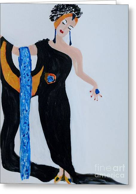 Erte Greeting Cards -  Art Deco Lady Greeting Card by Marie Bulger