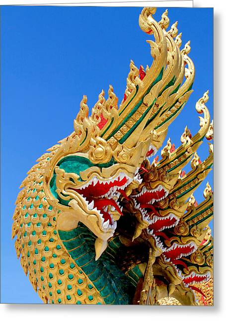 Traditional Art Sculptures Greeting Cards -  Asian temple dragon   Greeting Card by Panyanon Hankhampa