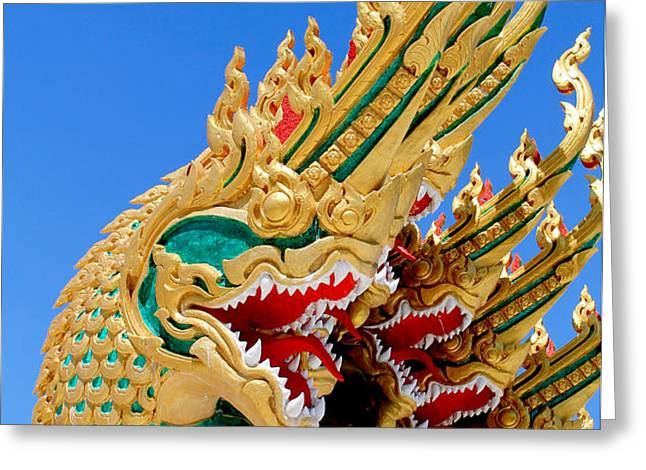 Asian temple dragon   Greeting Card by Panyanon Hankhampa