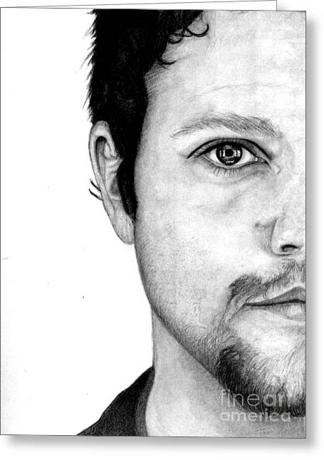 Bam Greeting Cards -  Bam Margera Pencil Drawing Greeting Card by Debbie Engel