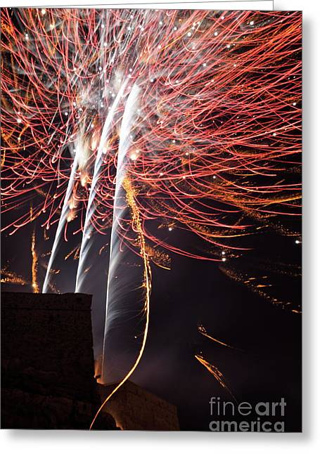 Bastille Photographs Greeting Cards -  Bastille Day Fireworks Greeting Card by Sami Sarkis