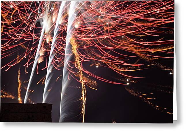 Bastille Day Fireworks Greeting Card by Sami Sarkis