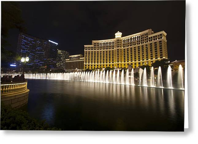 Bellagio Greeting Cards -  Bellagio Fountain in Las Vegas at night Greeting Card by Sven Brogren