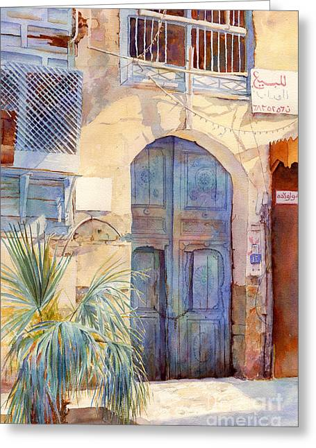 Print On Canvas Greeting Cards -  Blue Door  Greeting Card by Dorothy Boyer