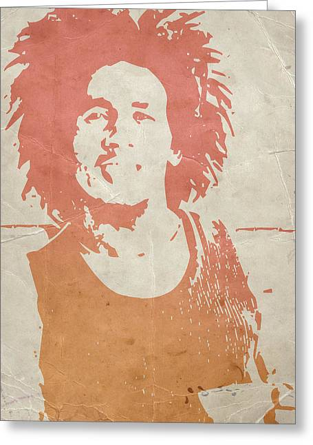 Jamaican Greeting Cards -  Bob Marley Brown Greeting Card by Naxart Studio