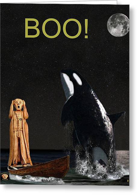 Fleeting Mixed Media Greeting Cards -  Boo Scream with Orca Greeting Card by Eric Kempson