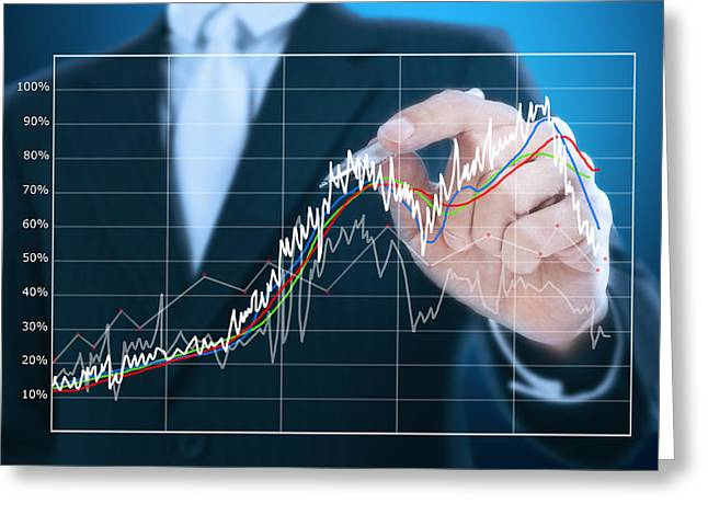 Goal Line Greeting Cards -  Businessman Writing Graph Of Stock Market  Greeting Card by Setsiri Silapasuwanchai