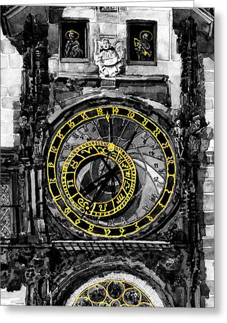 Horologue Greeting Cards -  BW Prague The Horologue at OldTownHall Greeting Card by Yuriy  Shevchuk