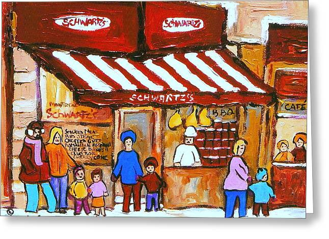 Family Walks Paintings Greeting Cards -  Chez Schwartz Deli Charcuterie  Vintage Montreal Winter Street Scene Greeting Card by Carole Spandau