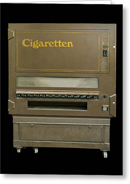 Machine Pyrography Greeting Cards -  Cigarette Automat Greeting Card by Design Windmill