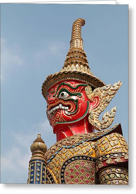 Asia Sculptures Greeting Cards -  Demon Guardian Statues at Wat Phra Kaew Greeting Card by Panyanon Hankhampa