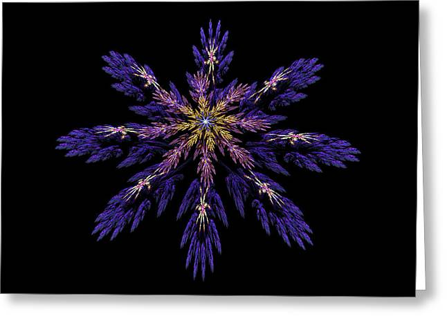 Blue Abstract Digital Art Greeting Cards -  Digital Fractal Art Abstract Blue Purple Flower Image Black Background Greeting Card by Keith Webber Jr