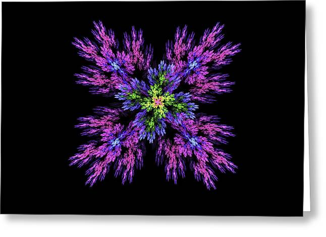 Abstract Digital Art Greeting Cards -  Digital Fractal Art Pink Purple Modern Flower Image Black Background Greeting Card by Keith Webber Jr