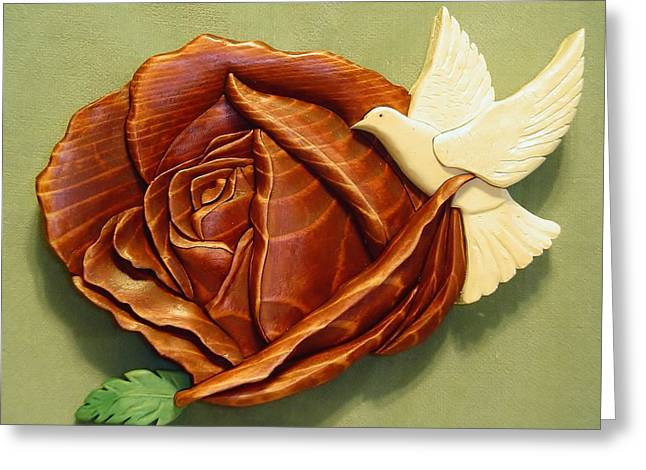 Roses Sculptures Greeting Cards -  Dove on a Rose Greeting Card by Russell Ellingsworth