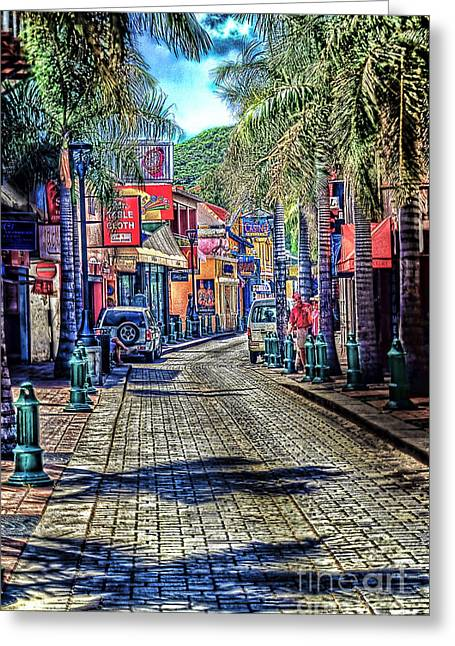 Arnie Goldstein Greeting Cards -  Entering Front Street Greeting Card by Arnie Goldstein
