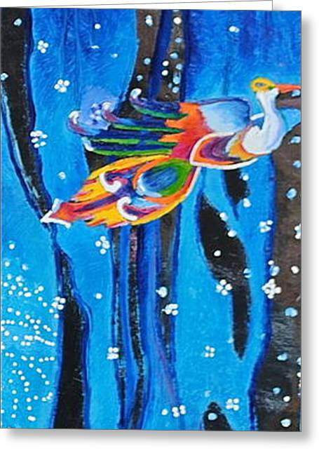 Phoenix Tapestries - Textiles Greeting Cards -  Firebird-100 Greeting Card by Mirinda Reynolds