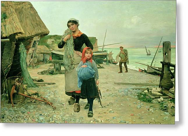 Etretat Greeting Cards -  Fisherfolk Returning with their Nets Greeting Card by Henry Bacon