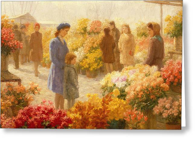 Open Market Greeting Cards -  Flower Market  Greeting Card by Hendrik Heyligers