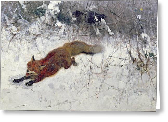 Fox Being Chased through the Snow  Greeting Card by Bruno Andreas Liljefors