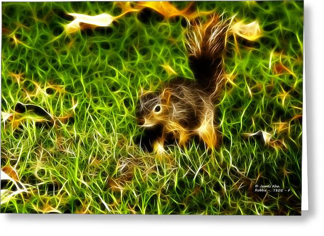 Fox Squirrel Mixed Media Greeting Cards - - Fractal - Pointer - Robbie The Squirrel Greeting Card by James Ahn