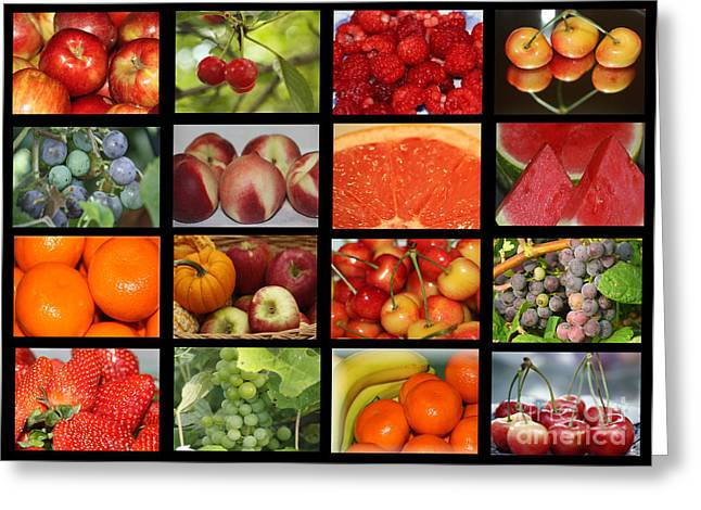 Fruits Collage Greeting Card by Yumi Johnson