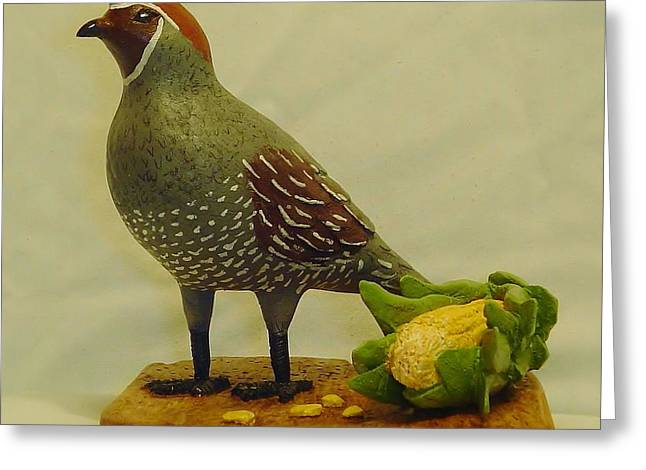 Game Bird Sculptures Greeting Cards -  Gambels Quail  Greeting Card by Russell Ellingsworth