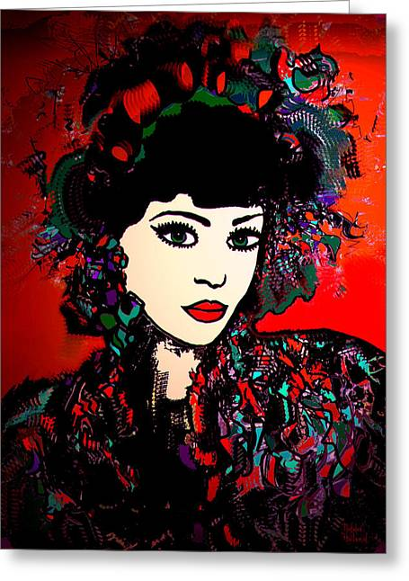 Fancy-dancer Mixed Media Greeting Cards -  Geisha Girl Greeting Card by Natalie Holland