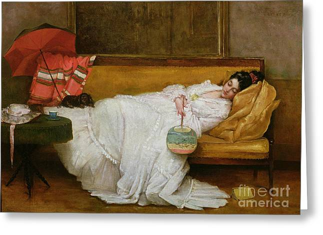 Sleeping Dogs Greeting Cards -  Girl in a white dress resting on a sofa Greeting Card by Alfred Emile Stevens