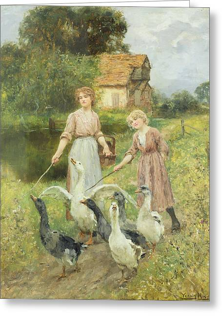 Stick Greeting Cards -  Girls Herding Geese  Greeting Card by Henry John Yeend King
