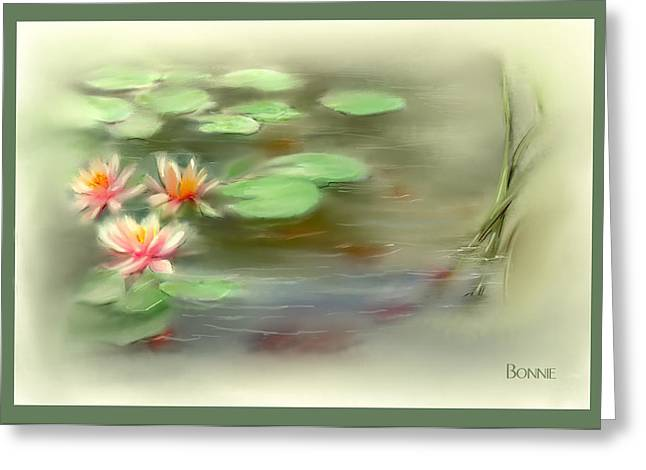 Lilly Pads Digital Art Greeting Cards -  Gold Fish Pond Greeting Card by Bonnie Willis