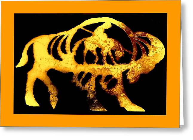 Golden Buffalo Greeting Card by Larry Campbell