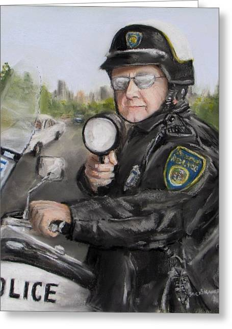 Cops Pastels Greeting Cards -  Gotcha Greeting Card by Jack Skinner