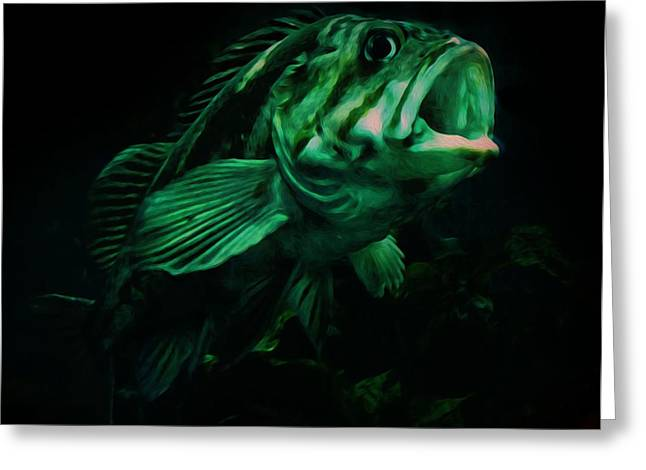 Green Fish Greeting Card by Veronica Ventress
