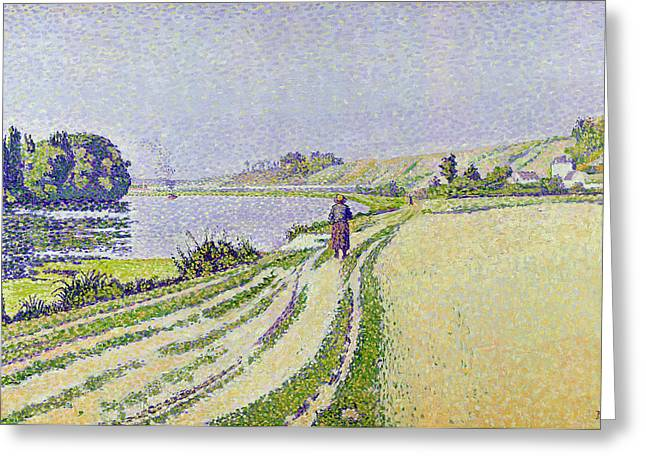 Pointillist Greeting Cards -  Herblay La River  Greeting Card by Paul Signac