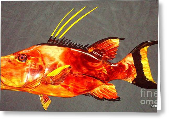 Wood Reliefs Greeting Cards -  Hog Snapper Fish Sculpture Greeting Card by Douglas Snider