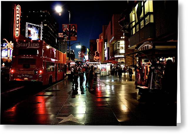 City Lights Greeting Cards -  Hollywood Blvd. Greeting Card by Amber Abbott