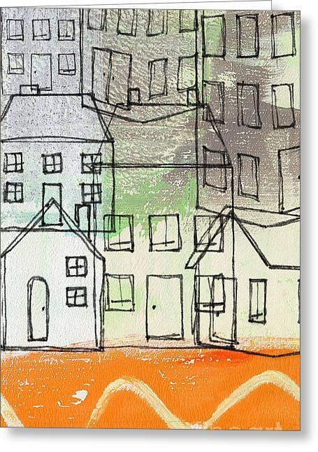 Sage Green Greeting Cards -  Houses By The River Greeting Card by Linda Woods