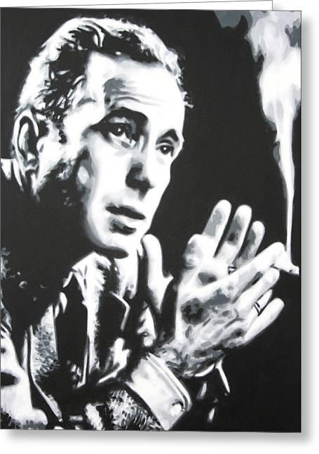 Humphrey Bogart Greeting Cards - - Humprey Bogart - Greeting Card by Luis Ludzska
