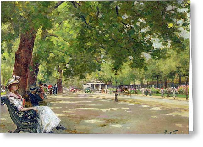 Park Scene Greeting Cards -  Hyde Park - London Greeting Card by Count Girolamo Pieri Nerli