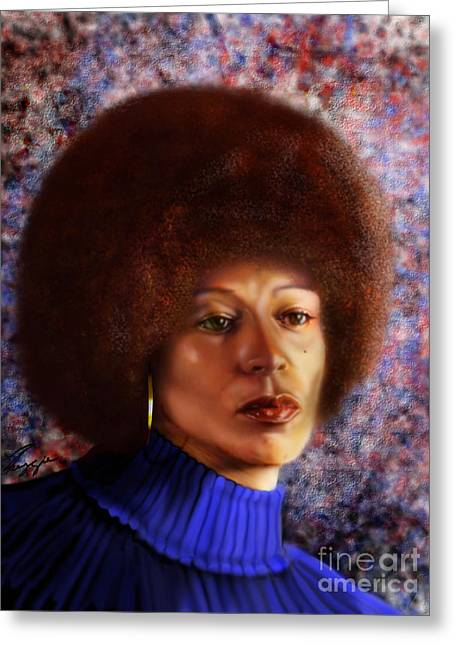 Reform Paintings Greeting Cards -  Impassable Me - Angela Davis1 Greeting Card by Reggie Duffie