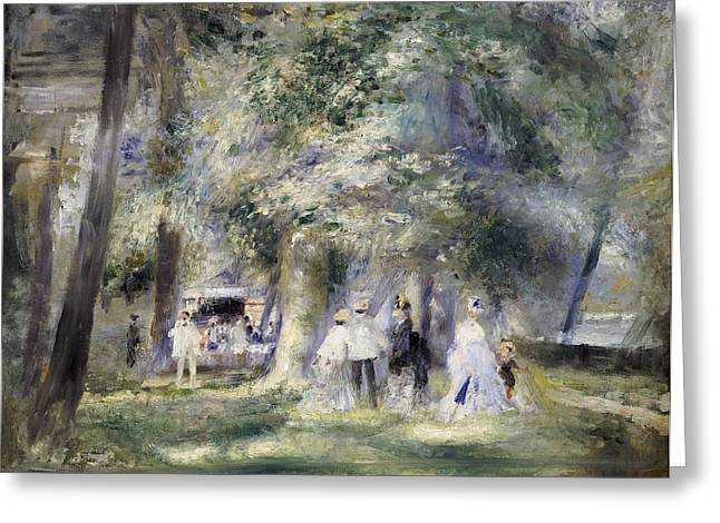 Man Dressed In Black Greeting Cards -  In the Park at Saint-Cloud Greeting Card by Pierre Auguste Renoir