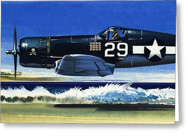 Ground Greeting Cards -  Into the Blue American War planes Greeting Card by Wilf Hardy