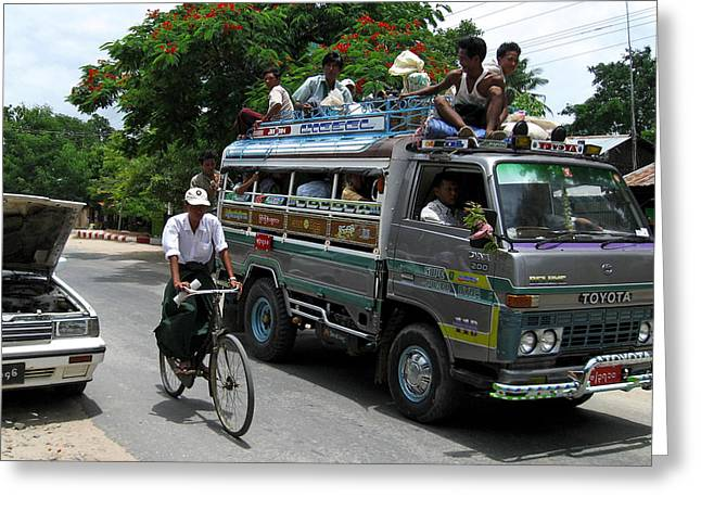 Bagan Greeting Cards -  Jam packed bus Greeting Card by RicardMN Photography