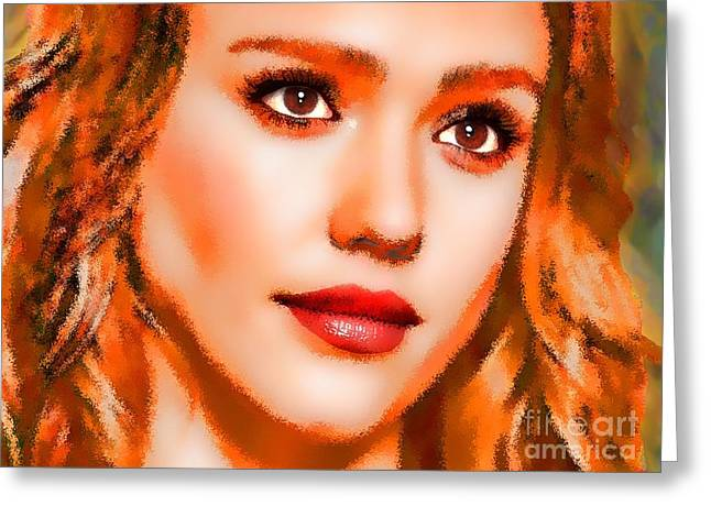 Jessica Alba Greeting Cards -  Jessica Alba Portrait A Greeting Card by Andre Drauflos